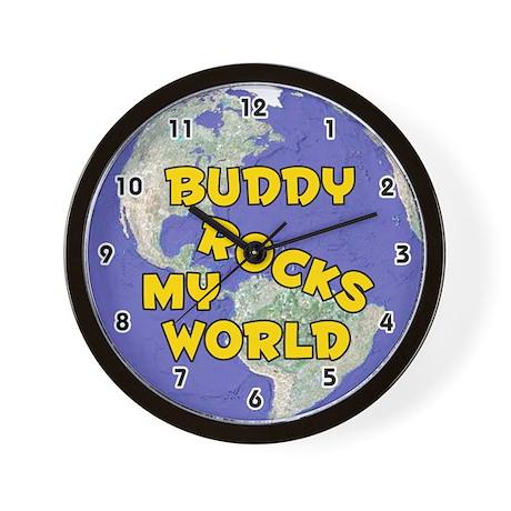 Buddy Rocks My World (Gold) Wall Clock