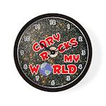 Cary Rocks My World (Red) Wall Clock