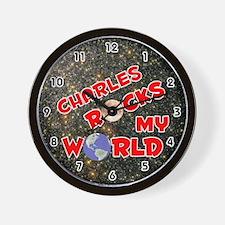 Charles Rocks My World (Red) Wall Clock