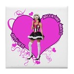 Female Valentine Wanted (Pink) Tile Coaster