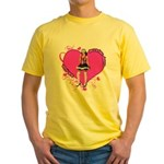 Female Valentine Wanted (Pink) Yellow T-Shirt