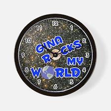 Gina Rocks My World (Blue) Wall Clock