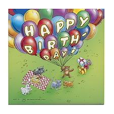 "Cuddle Bunch ""Happy Birthday"" Tile Coaster"