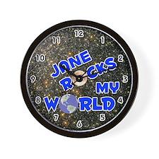 Jane Rocks My World (Blue) Wall Clock