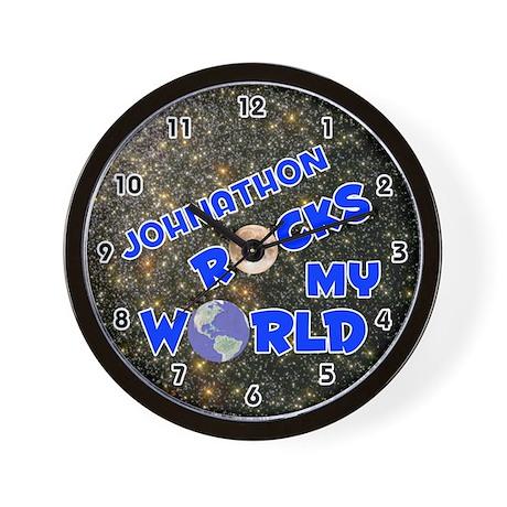 Johnathon Rocks My World (Blue) Wall Clock