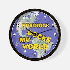 Fredrick Rocks My World (Gold) Wall Clock