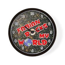 Fabian Rocks My World (Red) Wall Clock