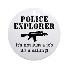 Police Explorer Calling Ornament (Round)