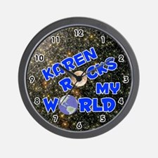 Karen Rocks My World (Blue) Wall Clock