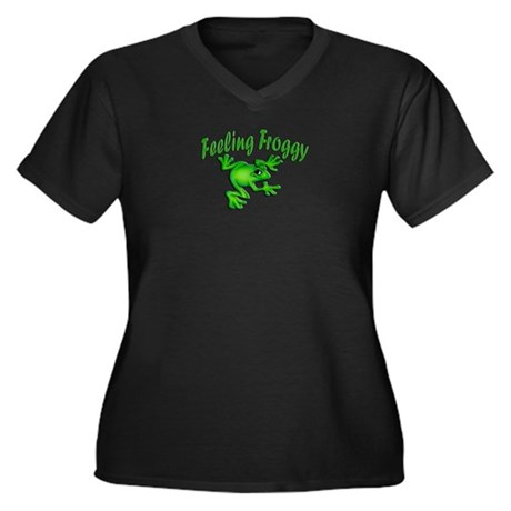 Feeling Froggy Women's Plus Size V-Neck Dark T-Shi