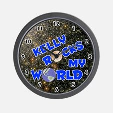 Kelly Rocks My World (Blue) Wall Clock