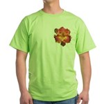 Coral Red Daylily Green T-Shirt