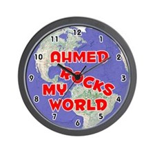 Ahmed Rocks My World (Red) Wall Clock