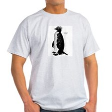 Rockhopper Penguin (Front) Ash Grey T-Shirt