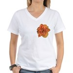 Coral Double Daylily Women's V-Neck T-Shirt
