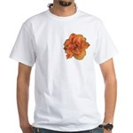 Coral Double Daylily White T-Shirt
