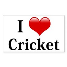 I Love Cricket Rectangle Decal
