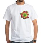 Pink w/ Green Edge Daylily White T-Shirt