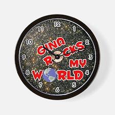 Gina Rocks My World (Red) Wall Clock