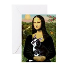 Mona Lisa & Boston Terrier Greeting Cards ( 6)