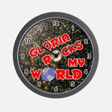 Gloria Rocks My World (Red) Wall Clock