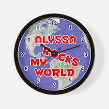 Alyssa Rocks My World (Red) Wall Clock