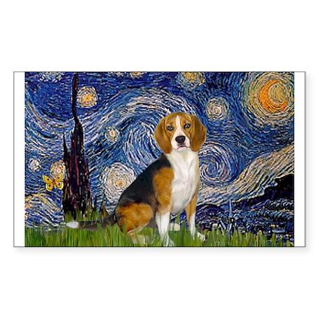 Starry Night & Beagle Rectangle Sticker