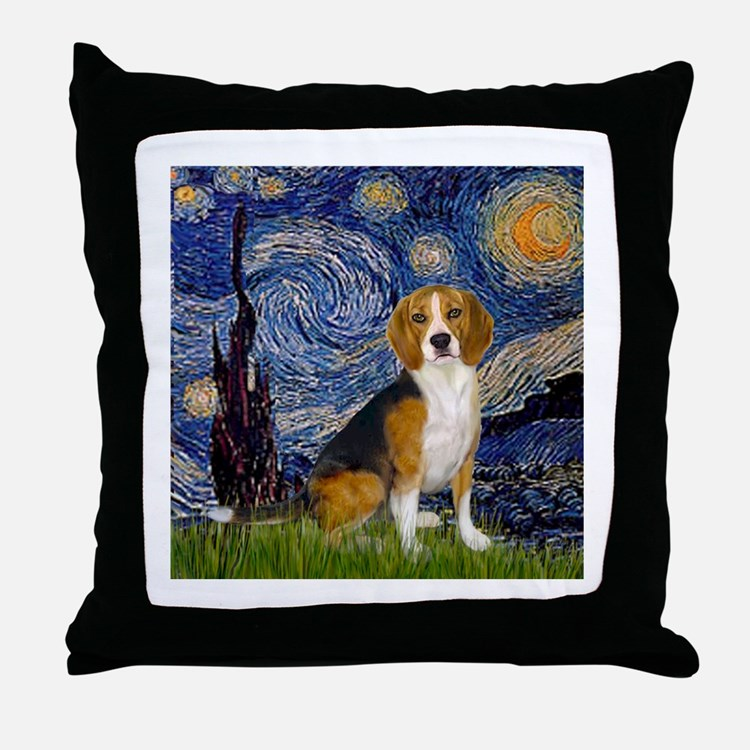 Starry Night & Beagle Throw Pillow