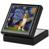 Beagle starry night Square Keepsake Boxes