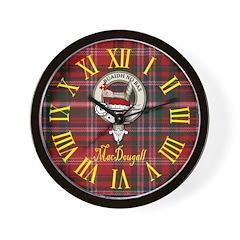 MacDougall Clan Crest / Tartan Wall Clock