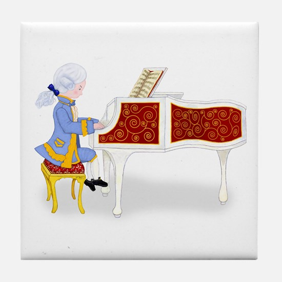Young Mozart Plays the Piano Tile Coaster