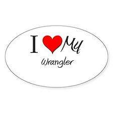 I Heart My Wrangler Oval Decal
