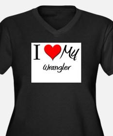 I Heart My Wrangler Women's Plus Size V-Neck Dark