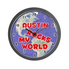 Austin Rocks My World (Red) Wall Clock