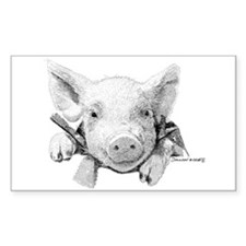 Baby Pig Rectangle Decal