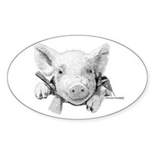 Baby Pig Oval Decal