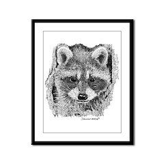 Baby Raccoon Framed Panel Print