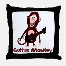 guitar monkey Throw Pillow