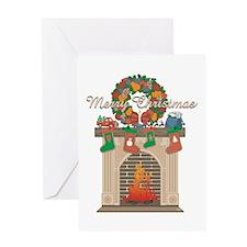Christmas Fireplace Greeting Card