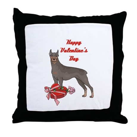 Happy Valentine's Day Doberman Throw Pillow
