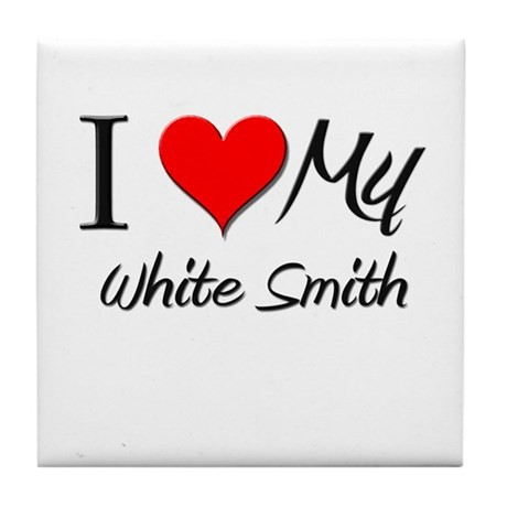 I Heart My White Smith Tile Coaster