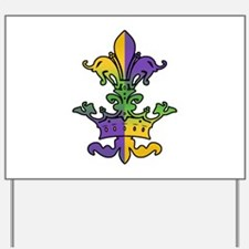 Mardi Gras Crown Fleur Yard Sign