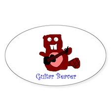 guitar beaver Oval Decal