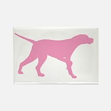 Pink Pointer Dog Rectangle Magnet