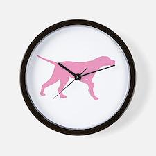 Pink Pointer Dog Wall Clock