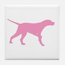 Pink Pointer Dog Tile Coaster