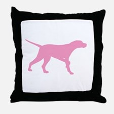 Pink Pointer Dog Throw Pillow