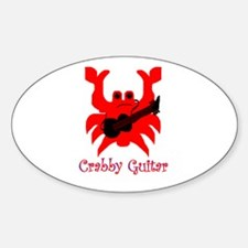 crabby guitar Oval Decal