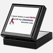 Never Knew A Hero.....Grandson (ARMY) Keepsake Box