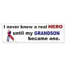 Never Knew A Hero.....Grandson (ARMY) Bumper Sticker